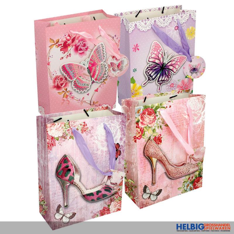 12 Stück Geschenktüten mit Blumen und Tieren Medium 23 x 18 x 10 cm