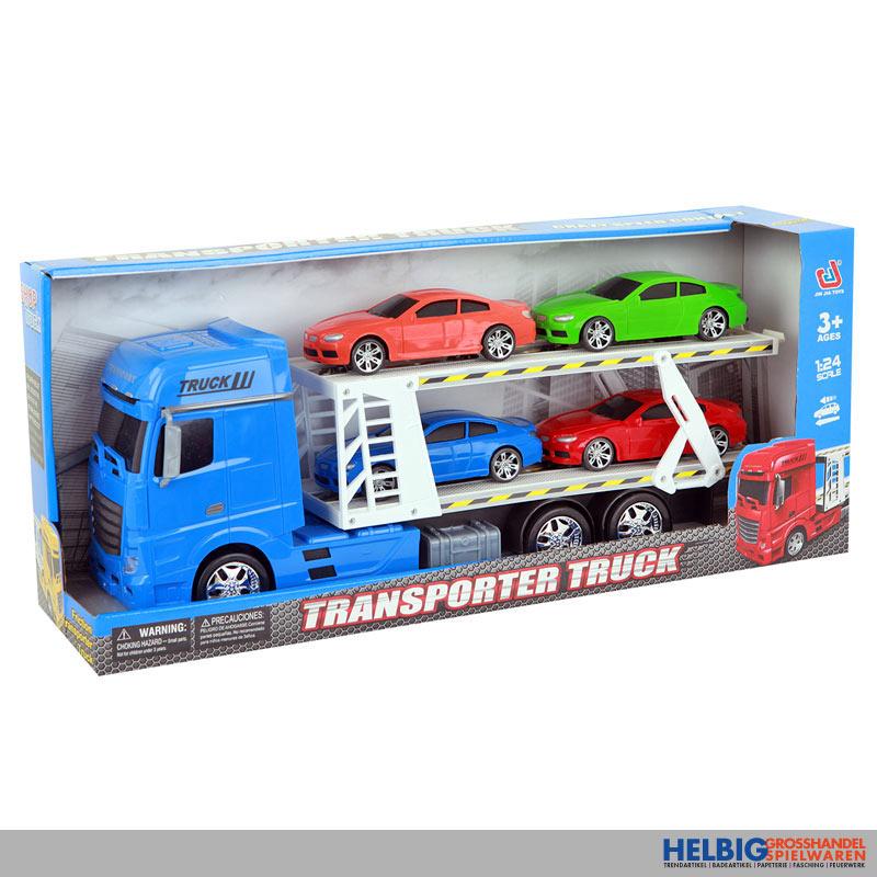 Autotransporter 4 Autos 2 Ladeflächen Spielzeug Transporter Licht Sound Funktion Spielzeugautos