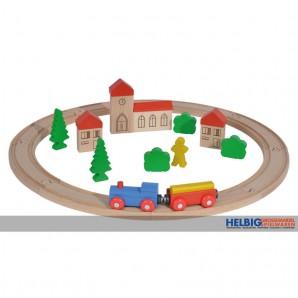 Holz-Eisenbahn 30-tlg. - inkl. Zubehör