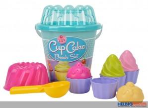 "Strand-Set / Eimergarnitur 12-tlg. ""Cup Cake"" - sort."