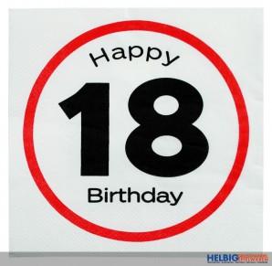 """20er Pack Papier-Servietten """"Happy Birthday - 18"""" 3-lagig"""