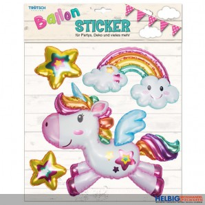 "3D Ballon-Sticker ""Einhorn/Unicorn"""