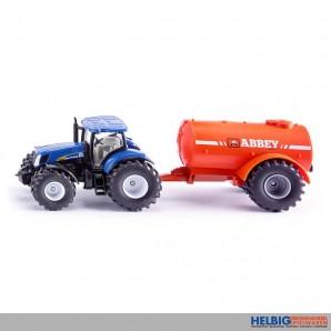 Siku 1945 - New Holland Traktor m. Ein-Achs-Güllefass