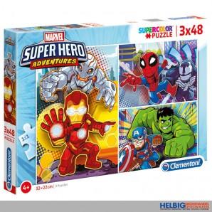 """Puzzle """"Marvel Super Hero Adventures"""" 3 x 48 Teile"""