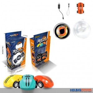 "Mini-USB-Auto-Set ""Rapid Racer 360 Spin"" 3-sort. m. Licht"