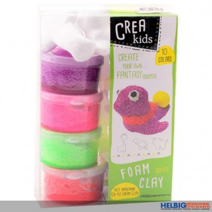 """Schaum-Knete """"Crea Kids"""" - 8 Farben + 3 Tier-Vorlagen"""