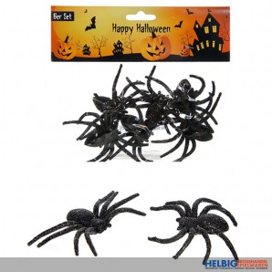 "Glitzer-Spinnen 6er Set ""Happy Halloween"""