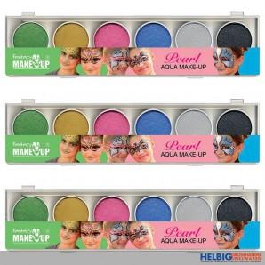 """6er Aqua Make-Up / Schminke Malkasten """"Express"""" Perlglanz"""