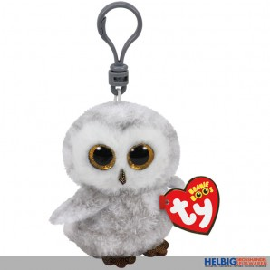 "Boo Clip/Anhänger - Eule ""Owlette"" weiss-grau - 8,5 cm"