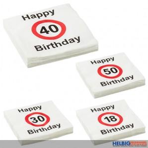 """Servietten """"Runder Geburtstag - Birthday"""" 20er Pack 4-sort."""