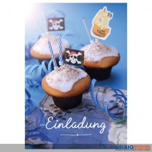 "8er Kartenset Kindergeburtstag Jungs ""Cupcake Pirat"""