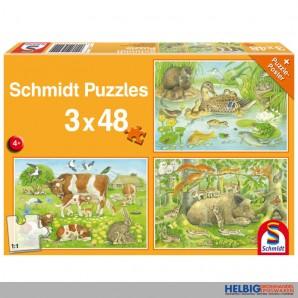 """Puzzle 3er Set """"Tierfamilien"""" - 3 x 48 Teile"""