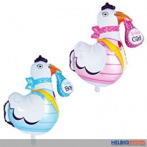 "Folienballon ""Storch - Boy & Girl"" 75 cm - 2-sort."