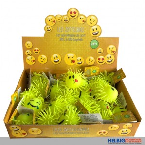 "LED-Zottelball ""Smiley"" kl. - 3-sort."