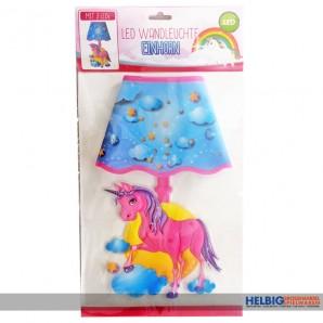 """3D Wandsticker mit LED-Licht """"Einhorn/Unicorn"""" inkl. Batt."""