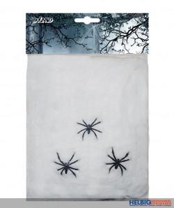 Spinnen-Netz weiss - inkl. 3 Spinnen