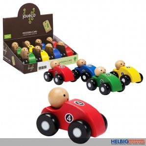 """Holz-Autos """"Wooden cars"""" 4-sort. - Display"""