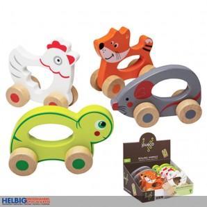 "Holz-Spielzeug ""Rollende Tiere"" 4-sort."