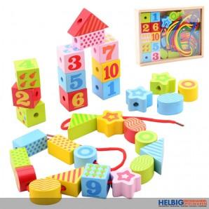 """Holz-Fädelspiel """"Holz-Blocks XL / Lacking Blocks"""" - 34-tlg."""