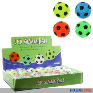 "Springball-Flummi mit LED-Blinklicht ""Fußball"" - 4-sort."