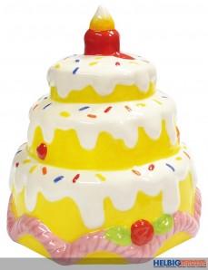 "Keramik-Spardose ""Torte mit Kerze"" - sort."