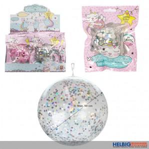 """Konfetti-Glitterballon-Ball """"Believe in Caticorns"""" 50 cm"""