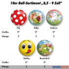 "10er Ball-Sortiment ""8,5 - 9 Zoll"""