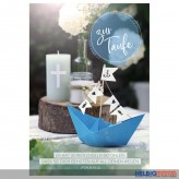 "Glückwunschkarte Taufe ""Papierboot blau"""