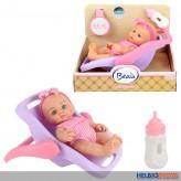 """Baby-Puppe m. tragbarem Sitz """"Beau"""" 21 cm - mit Trinkflasche"""