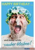 """Glückwunschkarte Geburtstag """"...sauber bleiben"""""""