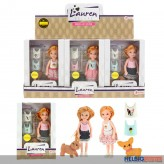 "Puppen-Spielset ""Lauren"" mit Hund 14 cm - 3-sort."