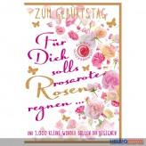 """Glückwunschkarte Geburtstag """"..solls rosarote Rosen regnen"""""""