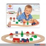 Holz-Eisenbahn - mit Schienen-Kreis & Zubehör