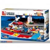 """Steckbausteine-Set """"Feuerwehr/Fire"""" Feuerwehr-Boot gr."""