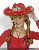 Damen-Cowboyhut - mit Blinkdiadem - rot