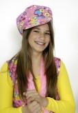 Hippie-Kappe pink - mit Herzchenmuster