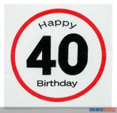 "Papier-Servietten ""Happy Birthday - 40"" 3-lagig"