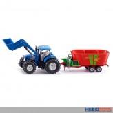 Siku 1988 - New Holland Traktor mit Frontlader & Futterwagen
