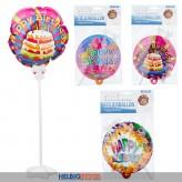 "Selbstaufblasender Folienballon ""Happy Birthday"" sort."