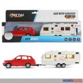 "Metall-Auto mit Wohnwagen ""Cars & Caravan"" m. Rückzug"