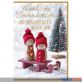 """Glückwünschkarte Weihnachten """"Figuren auf Schlitten"""""""