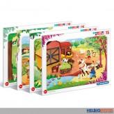 "Kinder-Rahmenpuzzle ""Bauernhof / Farm"" 15-tlg. - 4-sort."