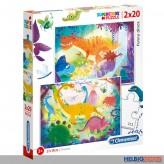 "Kinder-Puzzle ""Lustige Dinosaurier / Funny dinos"" 2 x 20 T."