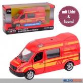 """Metall-Auto """"Feuerwehr-Transporter"""" - mit Licht & Sound"""