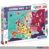"""Puzzle """"Exploring Maps / Wer-lebt-wo-Landkarte"""" 250 Teile"""