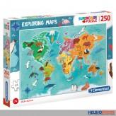 """Puzzle """"Exploring Maps / Tiere-leben-wo-Landkarte"""" 250 Teile"""
