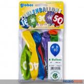 """10 gr. Zahlenluftballons m. Aufdruck """"30"""""""