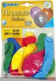 """10 gr. Zahlenluftballons m. Aufdruck """"60"""""""