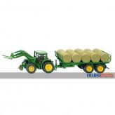 Siku 3862 - John Deere Traktor mit Rundballenanhänger