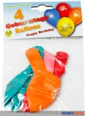 "4er Set Geburtstags-Luftballons m. Aufdruck ""Happy Birthday"""